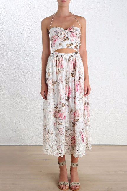 Zimmermann Eden Embroidered Tie Dress