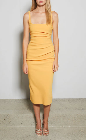 Bec & Bridge Karina Tuck Midi Dress in Tangerine - Never Twice