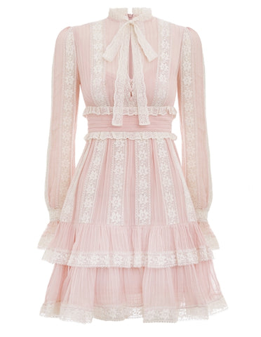 Zimmermann Verity Pintuck Short Dress in Dusty Pink