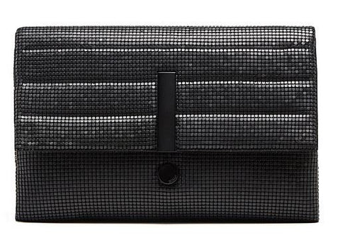 MIMCO Exclamation Clutch Black Metal Mesh