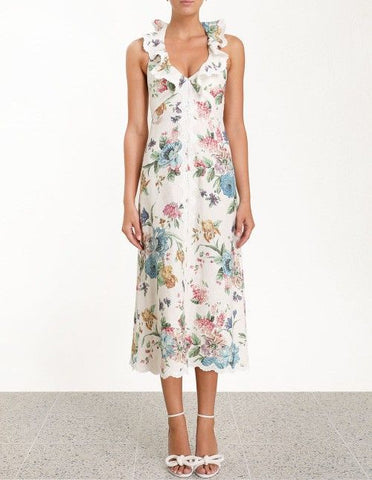 Zimmermann Ninety-Six Cascade Dress in Cream Blossom
