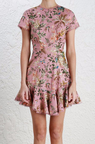 Zimmermann Tropicale Lattice Dress in Pink Floral - Never Twice