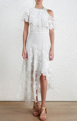 Zimmermann Mercer Bird Floating Dress in Ivory