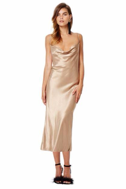 Bec & Bridge Shimmy Nights Cowl Midi Dress in Gold