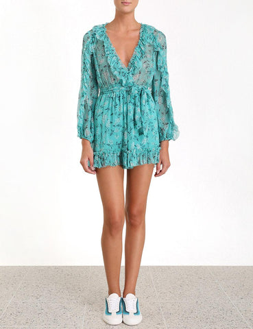 Zimmermann Moncur Ruffle Playsuit In Turquoise Bloom