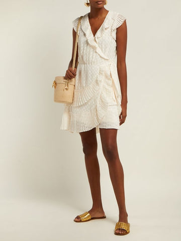 Zimmermann Plisse Wrap Mini Dress in Pearl
