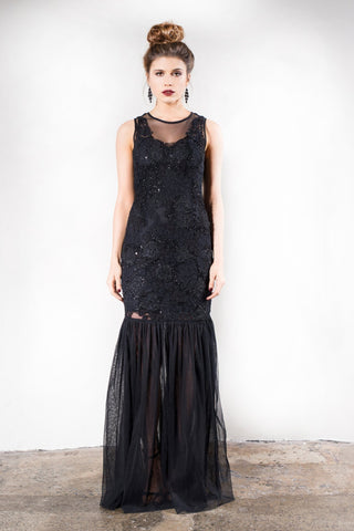 Grace & Blaze Whimsical Evening Dress in Black
