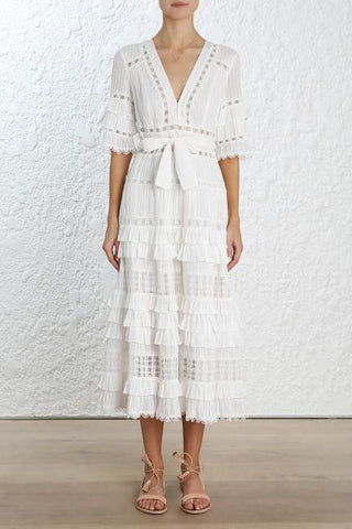 Zimmermann Corsair Frill Tier Long Dress in Ivory