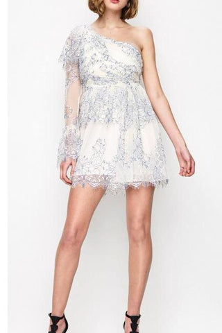 Alice McCall Isn't She Lovely Dress in Creme & Cobalt - Never Twice
