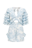 No model Thurley Gia Ruffle Playsuit in Bluebell