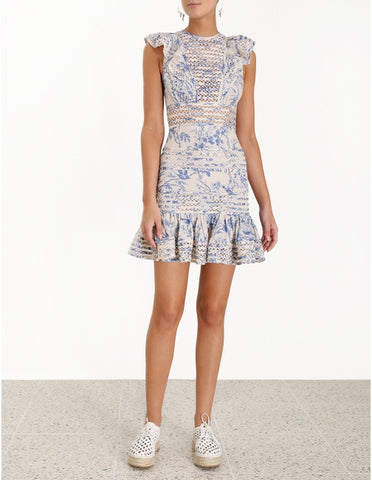 Zimmermann Verity Panelled Linear Dress in Bluebird