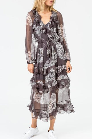 Zimmermann Radiate Ruffle L/S Dress in Smoke Floating Paisley