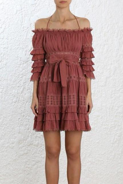 Zimmermann Corsair Frill Tier Dress in Vintage Rose - Never Twice