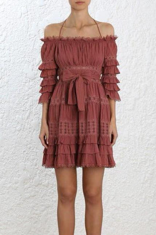 Zimmermann Corsair Frill Tier Dress in Vintage Rose