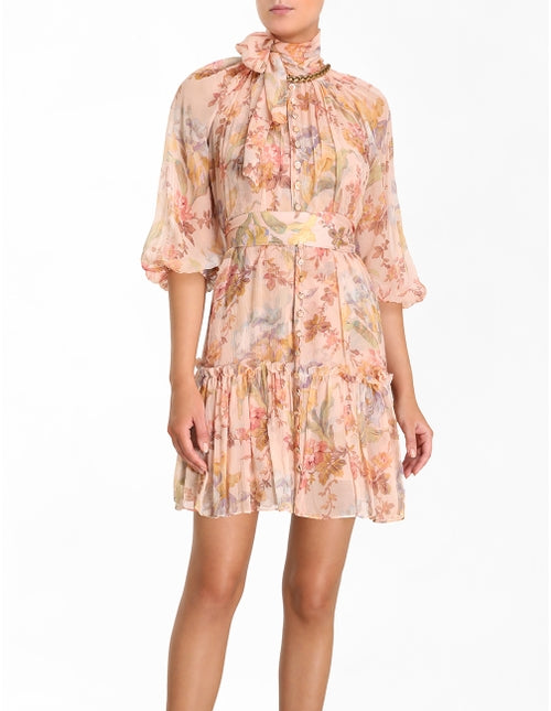 Zimmermann Espionage Neck Tie Mini Dress in Iris Floral