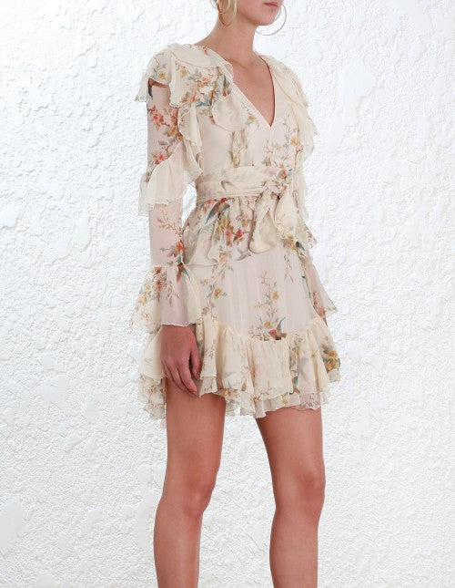 Zimmermann Tropicale Lattice Dress In Pink Floral Never