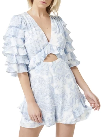 Thurley Gia Ruffle Playsuit in Bluebell - Never Twice