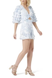 Side view Thurley Gia Ruffle Playsuit in Bluebell