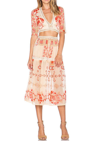 For Love & Lemons Barcelona Crop Top & Midi Skirt Set
