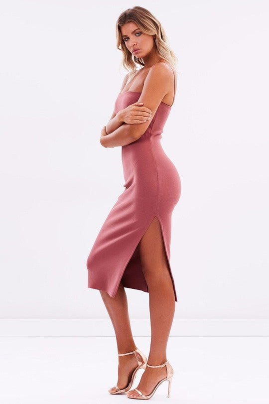 Side view Bec & Bridge Love Ruler Midi Dress in Lipstick