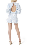 Back view Thurley Gia Ruffle Playsuit in Bluebell
