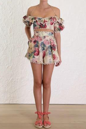 Zimmermann Melody High Waisted Shorts Set