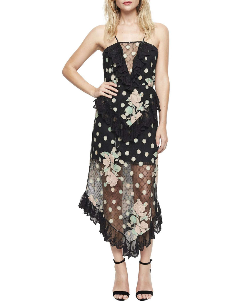 Alice McCall We Are Golden Dress in Spot the Dot Black - Never Twice