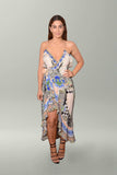 Front view Camilla Salvador Secrets Long Wrap Dress with Frill
