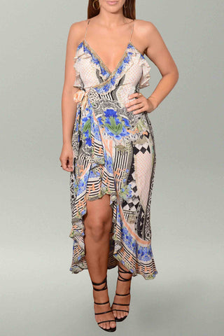 Camilla Salvador Secrets Long Wrap Dress with Frill