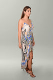 Side view Camilla Salvador Secrets Long Wrap Dress with Frill