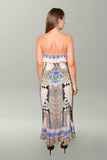 Back view Camilla Salvador Secrets Long Wrap Dress with Frill