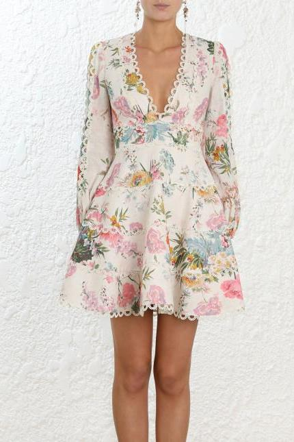 Zimmermann Heathers Flounce Short Dress