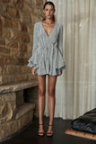 Front up view Shona Joy Bonnie Frill Cuff Drawstring Mini Dress