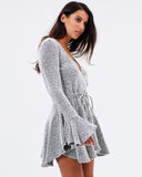 Side view Shona Joy Bonnie Frill Cuff Drawstring Mini Dress