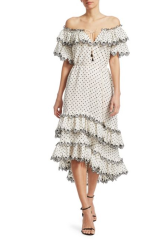 Zimmermann Jaya Scallop Tiered Midi Dress - Never Twice