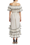 Back view Zimmermann Jaya Scallop Tiered Midi Dress