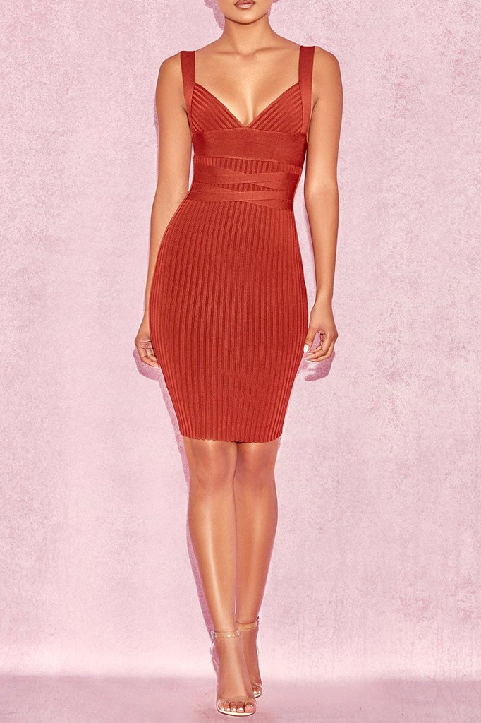 House of CB Charmagne Rust Rib Bandage Dress