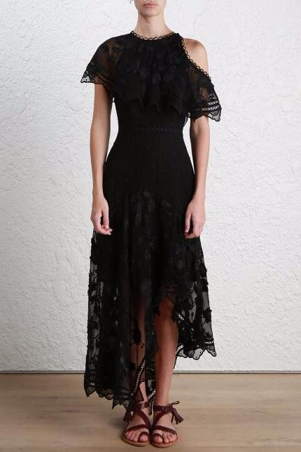 Zimmermann Mercer Bird Floating Dress in Noir - Never Twice