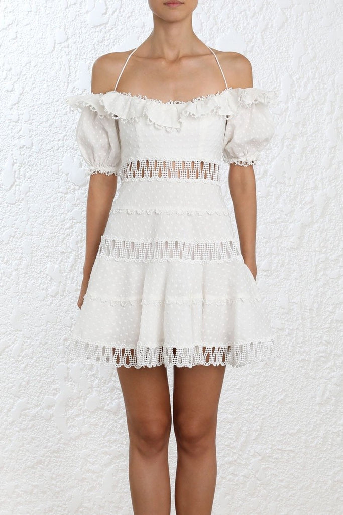 Zimmermann Melody Off Shoulder Dress in Ivory - Never Twice