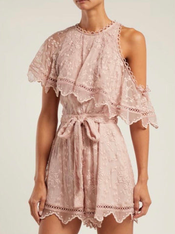 Zimmermann Castile Embroidered Silk Playsuit in Blush
