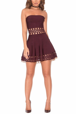 House of CB Ayoma Mini Dress in Plum - Never Twice
