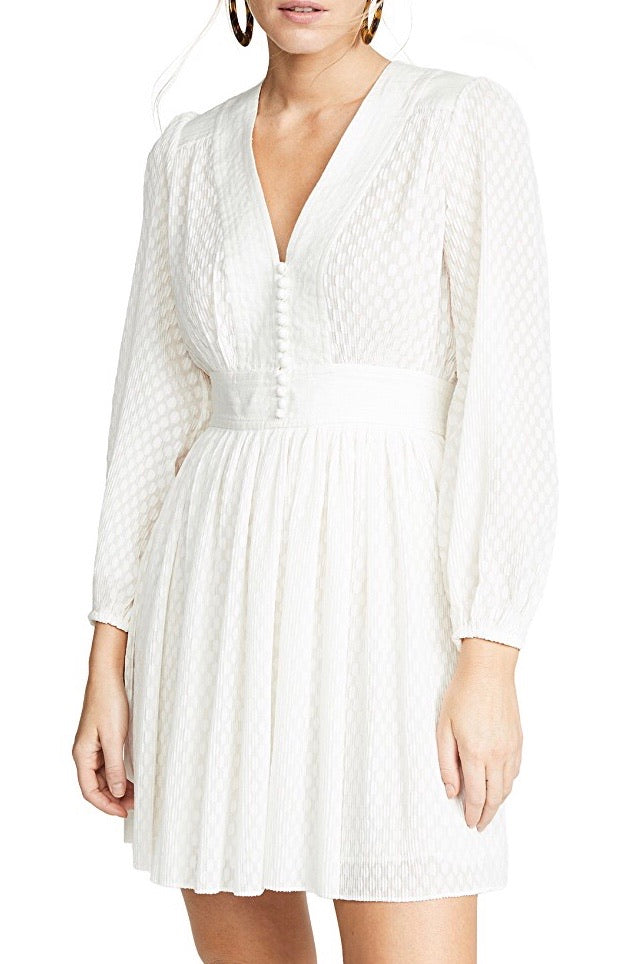Zimmermann Plisse Dot Mini Dress in Pearl