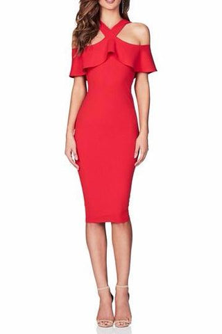 Nookie Hermosa Midi Dress in Red - Never Twice