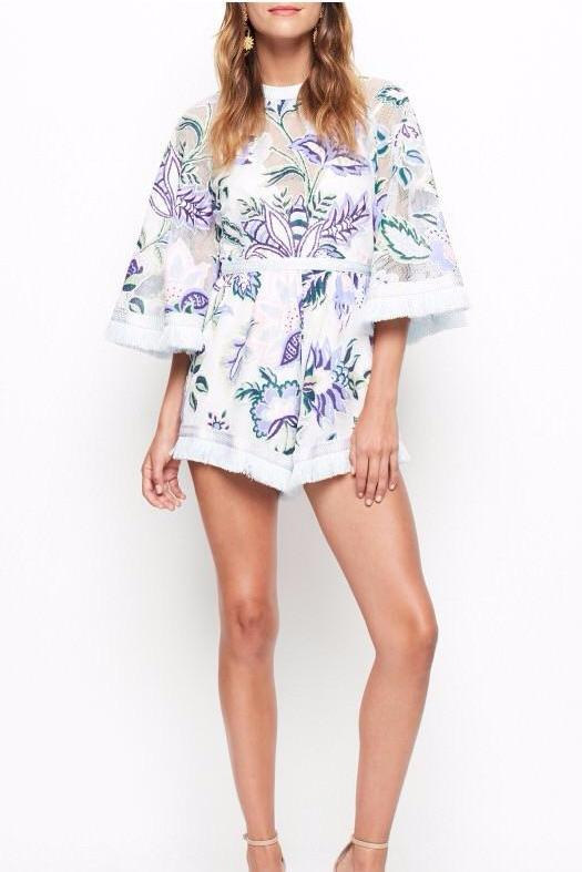Alice McCall Georgie Boy Playsuit in White Thistle - Never Twice