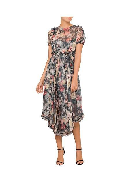 Zimmermann Radiate Ruffle Dress in Charcoal Floral - Never Twice
