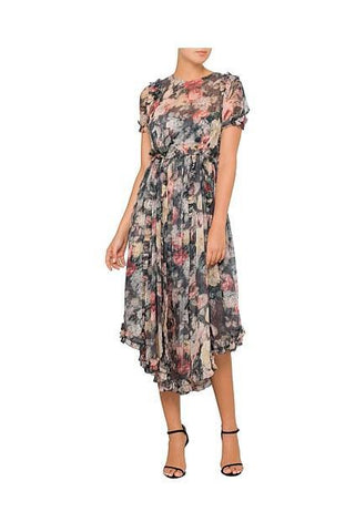 Zimmermann Radiate Ruffle Dress in Charcoal Floral