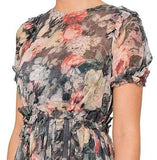 Front top view Zimmermann Radiate Ruffle Dress in Charcoal Floral