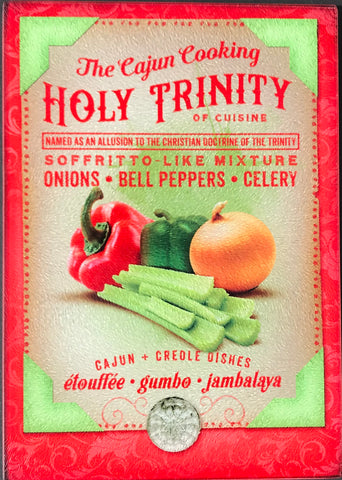 CB-CAJUN COOKING HOLY TRINITY Glass Cutting Board