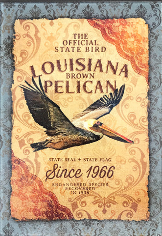 CB-LOUISIANA BROWN PELICAN Glass Cutting Board