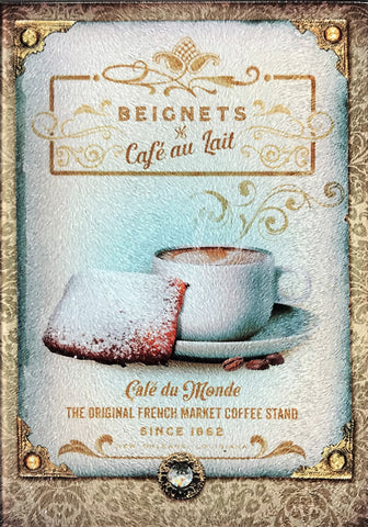CB-New Orleans BEIGNETS 8x11 Glass Cutting Board
